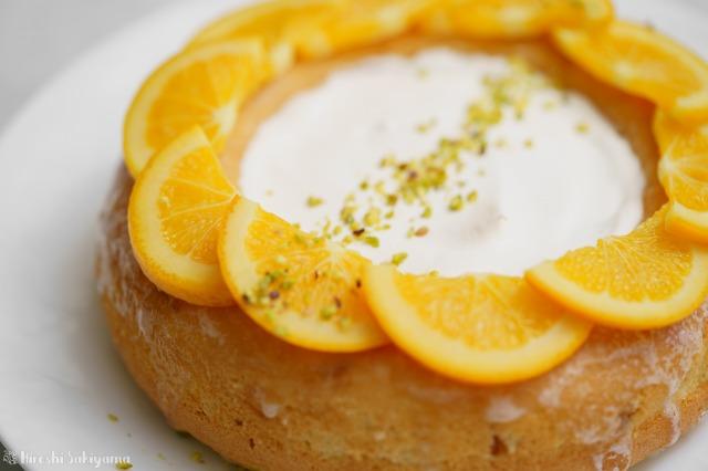 オレンジのエンゼルフードケーキのどアップ