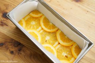 オレンジを敷き詰めた様子