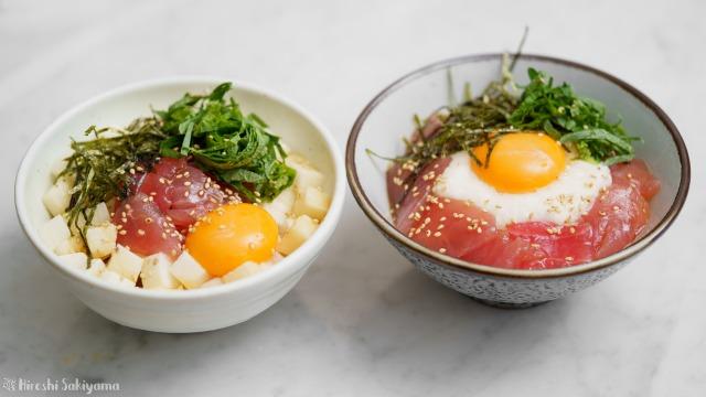 山かけマグロ丼+角切り長芋マグロ丼