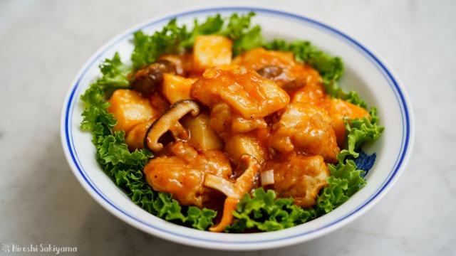 鶏と長芋と椎茸のチリソース