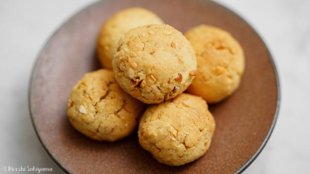 福豆のボールクッキーのアップ