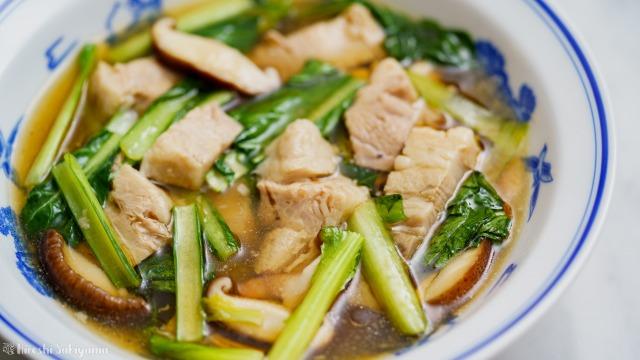 豚バラ肉と小松菜のうま煮のアップ