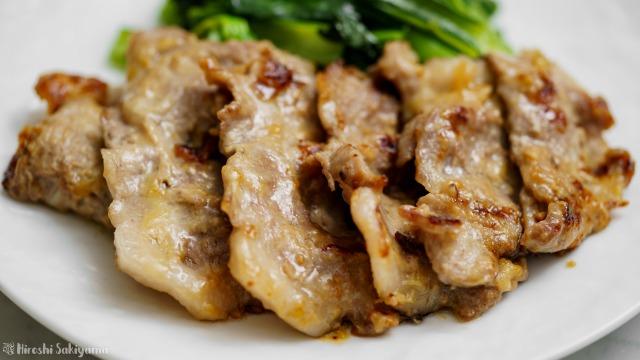 豚肉のわさび味噌焼きのどアップ