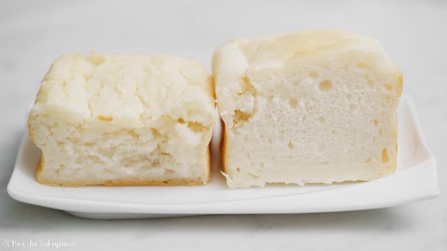 米粉の吸水率の違いによる米粉パンの仕上がりの比較、水と同量で合わせてサラサラだった米粉はふんわり、かたかったほうはずっしりねっちょり