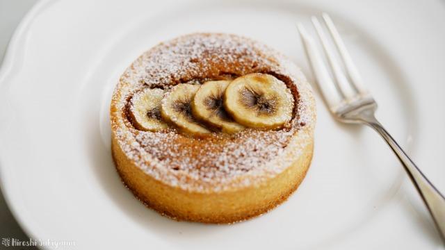 くるみとバナナのキャラメルダマンドタルト、アップ