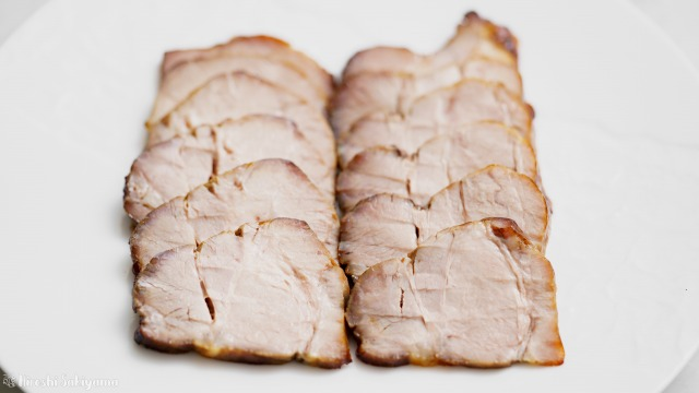 オーブンで焼く焼き豚・チャーシューのアップ