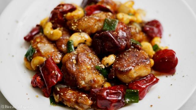 鶏肉とカシューナッツの唐辛子炒め(宮保鶏丁風)のアップ