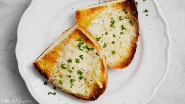 チーズガーリックトースト、上から