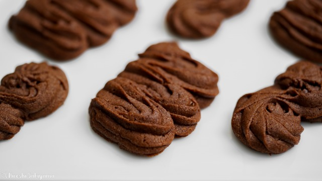 絞り出しチョコクッキー、波々