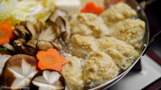 白だしで作るぷるぷるふわふわ鶏団子(鶏つくね)鍋、アップ