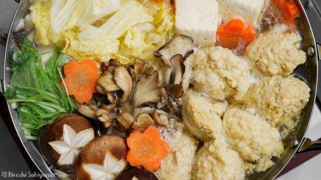 白だしで作るぷるぷるふわふわ鶏団子(鶏つくね)鍋、上から