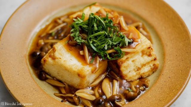 揚げ豆腐のきのこ味噌あんかけ、アップ