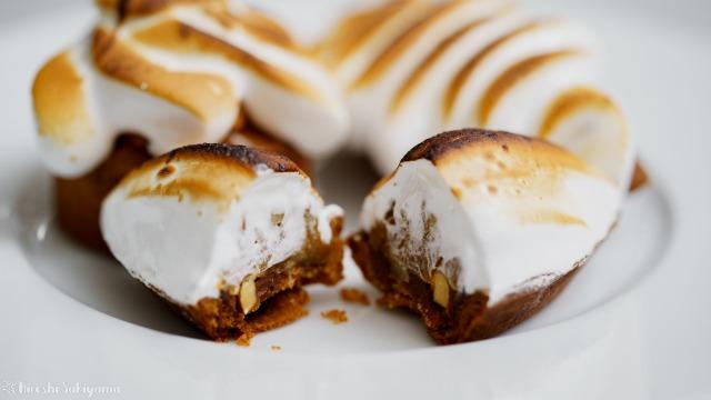 塩キャラメルナッツチョコタルト、断面