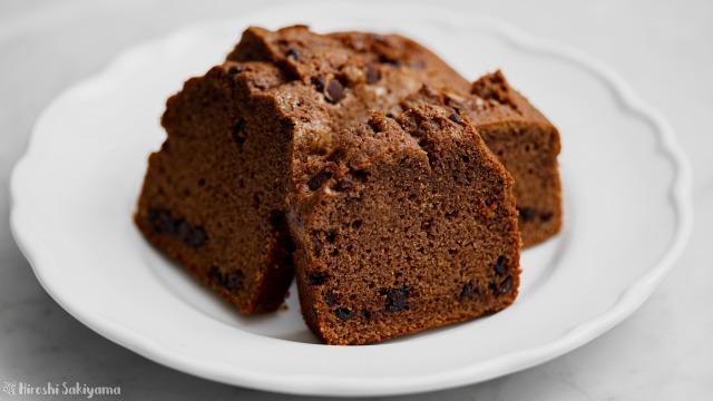 溶かしバターで作るチョコパウンドケーキ(ケーク・オ・ショコラ)、カット