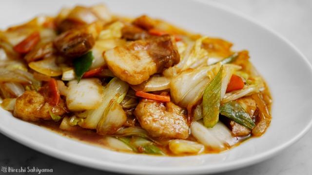 白菜で作る回鍋肉(ホイコーロー)、アップ