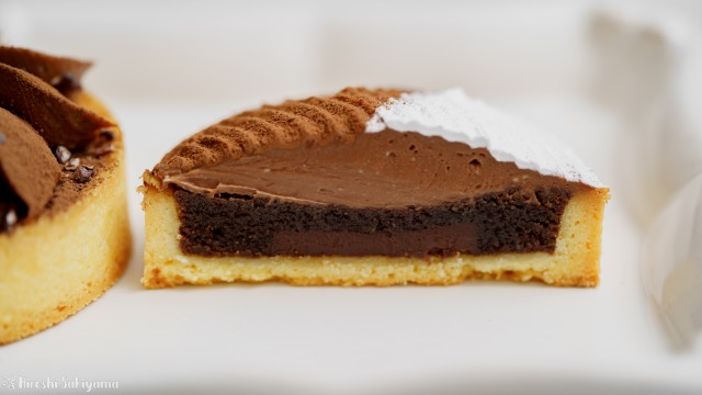 ガナッシュチョコチーズクリームタルト、断面
