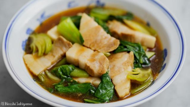 豚バラ肉と青梗菜の醤油オイスター煮、アップ