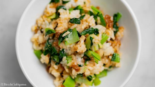アンダンスーと小松菜の混ぜご飯、上から