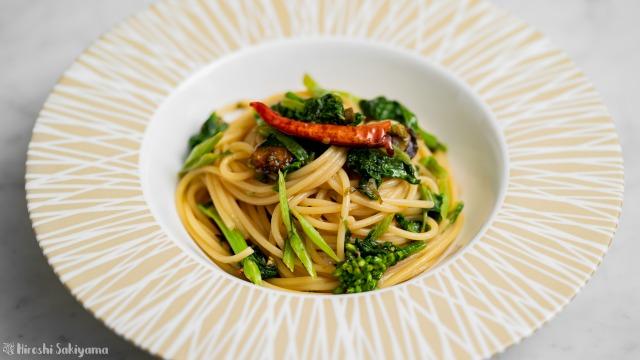 ふきのとう味噌と菜の花のパスタ