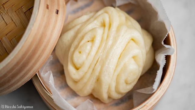 花巻き(中華蒸しパン)、上から