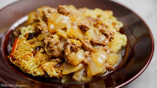ひき肉ととろとろ白菜のあんかけ焼きそば、アップ
