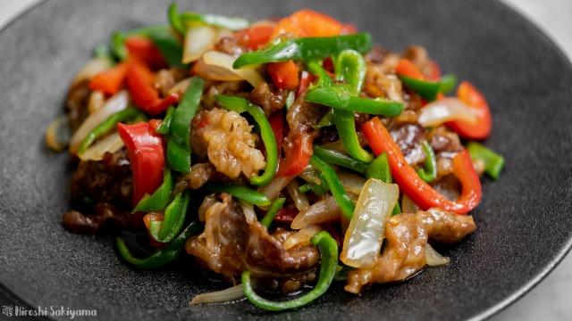 牛薄切り肉で作る青椒牛肉絲、アップ
