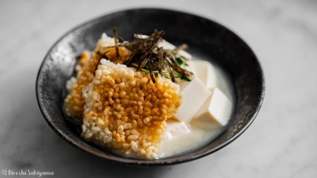 中華おこげのうずみ豆腐、白味噌