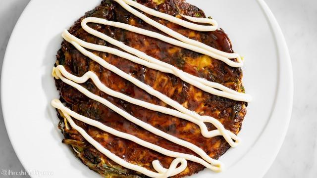 豆腐と米粉の野菜お好み焼き、上から