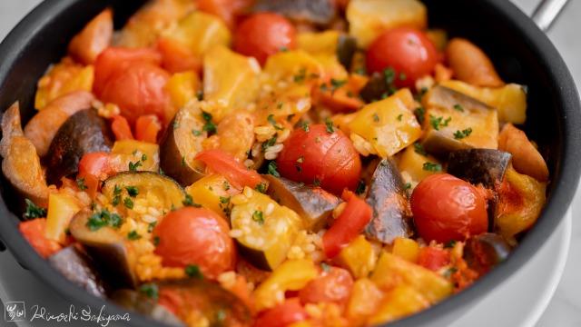夏野菜とウインナーのパエリア