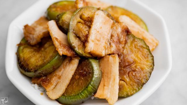 茄子と豚肉の生姜焼き丼