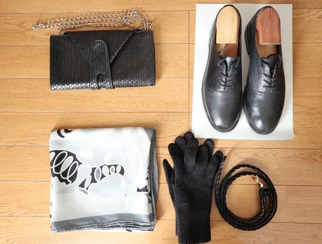 黒のミニバッグ、靴、手袋、ベルト、モノトーンスカーフ