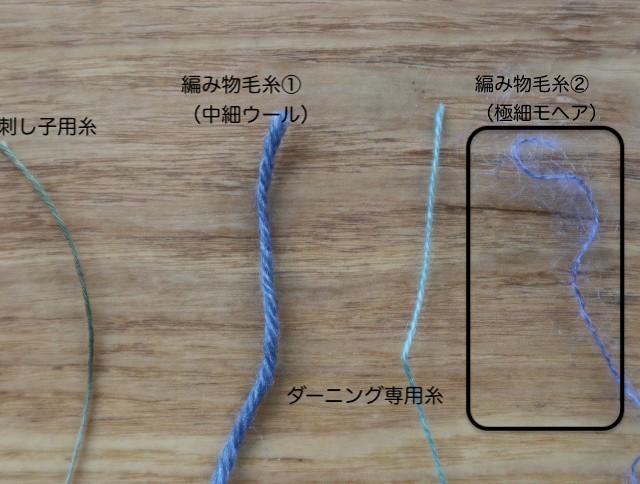 ダーニング用毛糸の4種類の写真