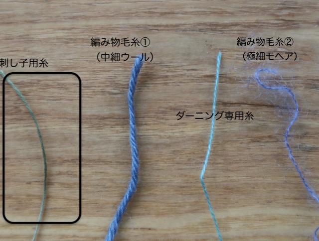 ダーニングで使う糸4種類の写真