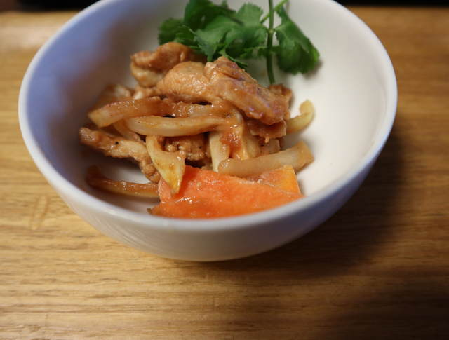 ヘルシオまかせて調理レシピ_鶏のケチャップ炒め(完成写真)