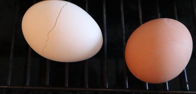 ヒビ入ゆで卵の写真