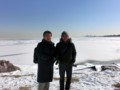 Iced Michigan lake with Prof. Dohda @ Northwestern University, Evanston 2014/02/11