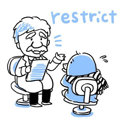 制限 英単語 restrict