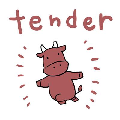 tender 柔らかい 英単語