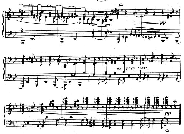 チャイコフスキー舟歌のコーダ後半の楽譜と解析結果