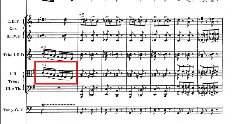 トロンボーンの音階下降 ドボルザーク交響曲第八番第四楽章