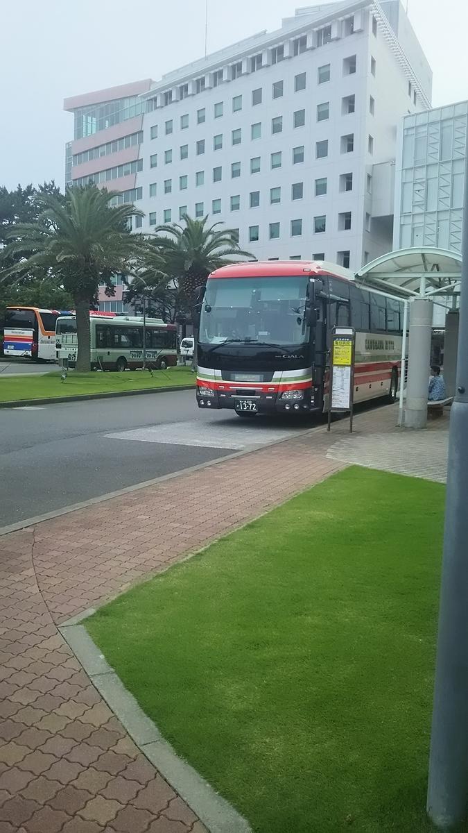 亀田病院バス停とシーバレー号