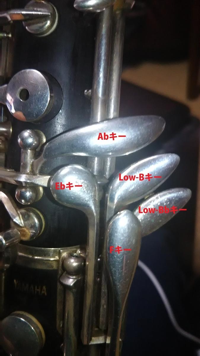 オーボエの左手で操作するキー