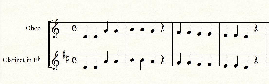 クラリネットの移調譜の例