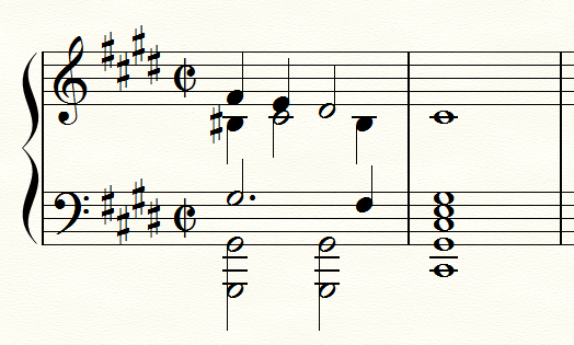 序奏のラスト2小節を 声部がわかるように書き換えたもの