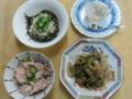梅じゃこご飯・ゴーヤと豚肉の味噌炒め・とろろオクラ・梅酒かん