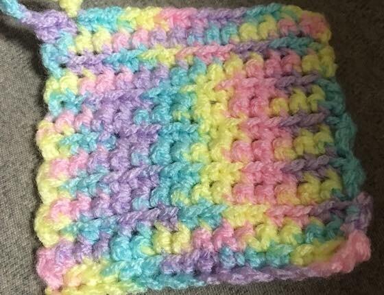 細編みでアクリルたわしを手作り