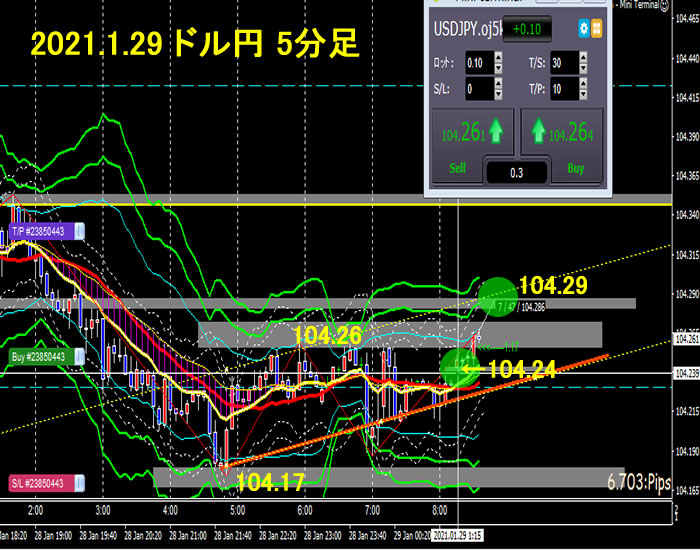 2021.1.29 ドル円 5分足