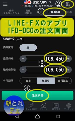 LINE-FXの「IFD-OCO注文画面」