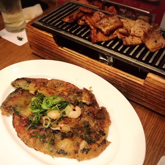 海鮮チヂミとおかわりしたお肉