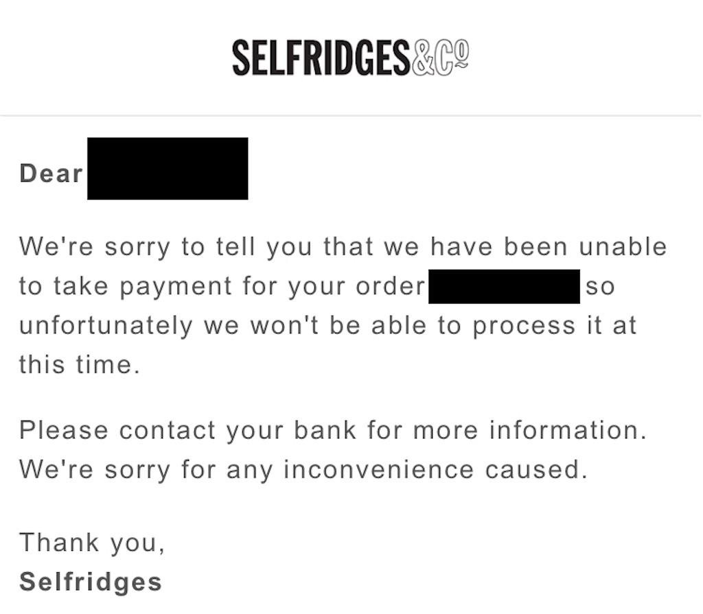 Selfridgesからの注文キャンセルメール